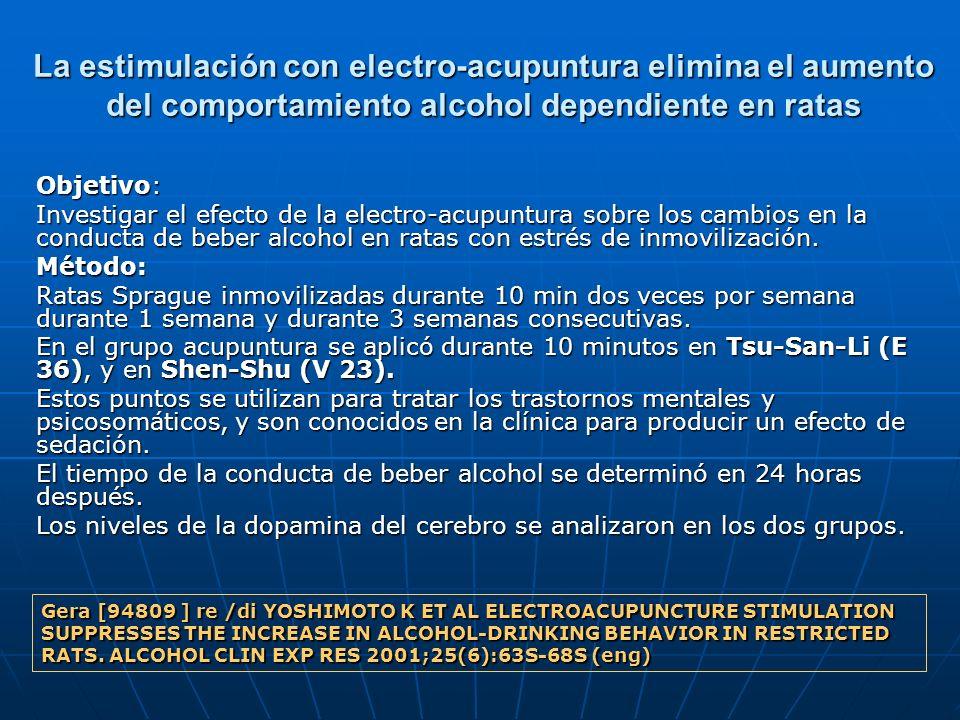 La estimulación con electro-acupuntura elimina el aumento del comportamiento alcohol dependiente en ratas Objetivo: Investigar el efecto de la electro