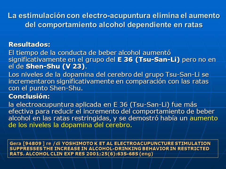 La estimulación con electro-acupuntura elimina el aumento del comportamiento alcohol dependiente en ratas Resultados: El tiempo de la conducta de bebe