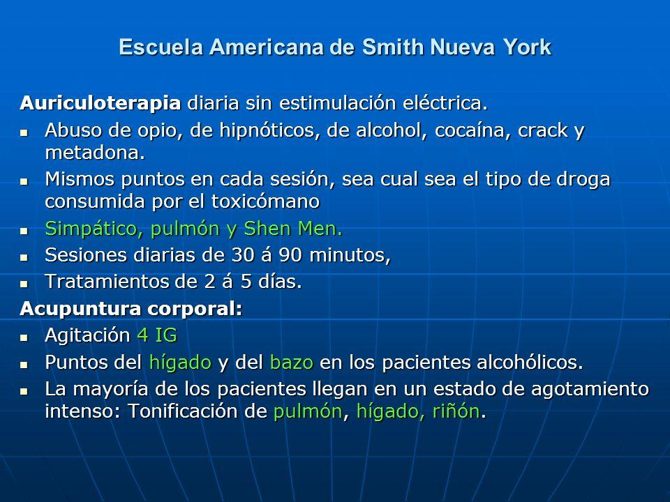 Escuela Americana de Smith Nueva York Auriculoterapia diaria sin estimulación eléctrica. Abuso de opio, de hipnóticos, de alcohol, cocaína, crack y me