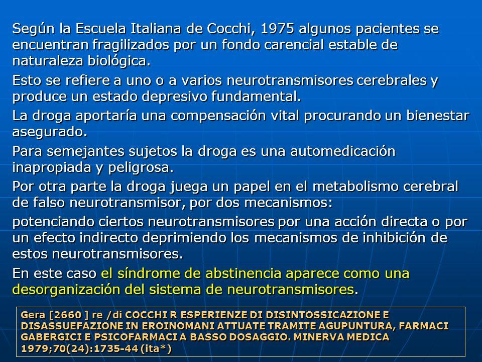 Según la Escuela Italiana de Cocchi, 1975 algunos pacientes se encuentran fragilizados por un fondo carencial estable de naturaleza biológica. Según l