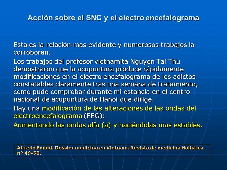 Acción sobre el SNC y el electro encefalograma Esta es la relación mas evidente y numerosos trabajos la corroboran. Los trabajos del profesor vietnami
