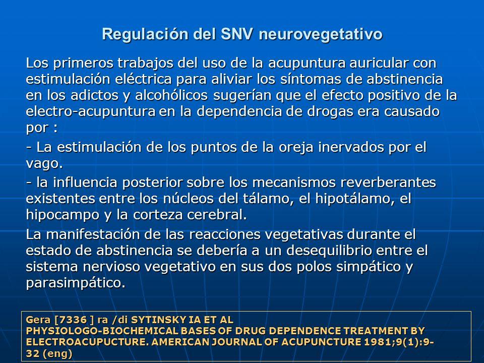 Regulación del SNV neurovegetativo Los primeros trabajos del uso de la acupuntura auricular con estimulación eléctrica para aliviar los síntomas de ab