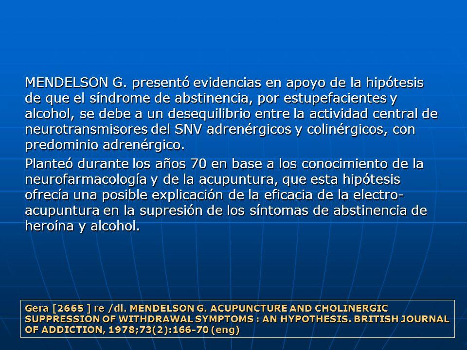 MENDELSON G. presentó evidencias en apoyo de la hipótesis de que el síndrome de abstinencia, por estupefacientes y alcohol, se debe a un desequilibrio