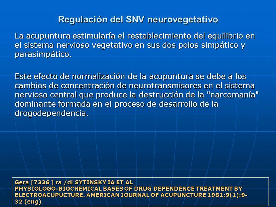 Regulación del SNV neurovegetativo La acupuntura estimularía el restablecimiento del equilibrio en el sistema nervioso vegetativo en sus dos polos sim