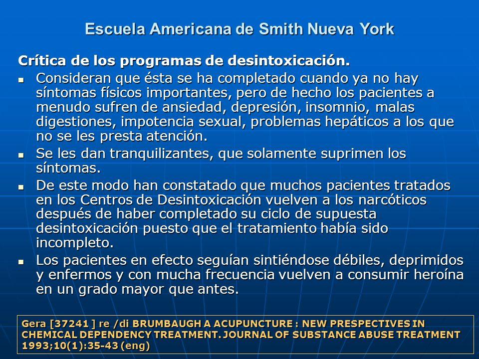 Escuela Americana de Smith Nueva York Crítica de los programas de desintoxicación. Consideran que ésta se ha completado cuando ya no hay síntomas físi