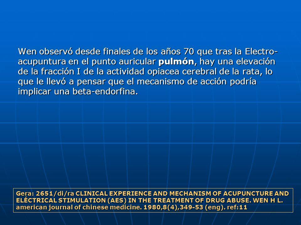 Wen observó desde finales de los años 70 que tras la Electro- acupuntura en el punto auricular pulmón, hay una elevación de la fracción I de la activi