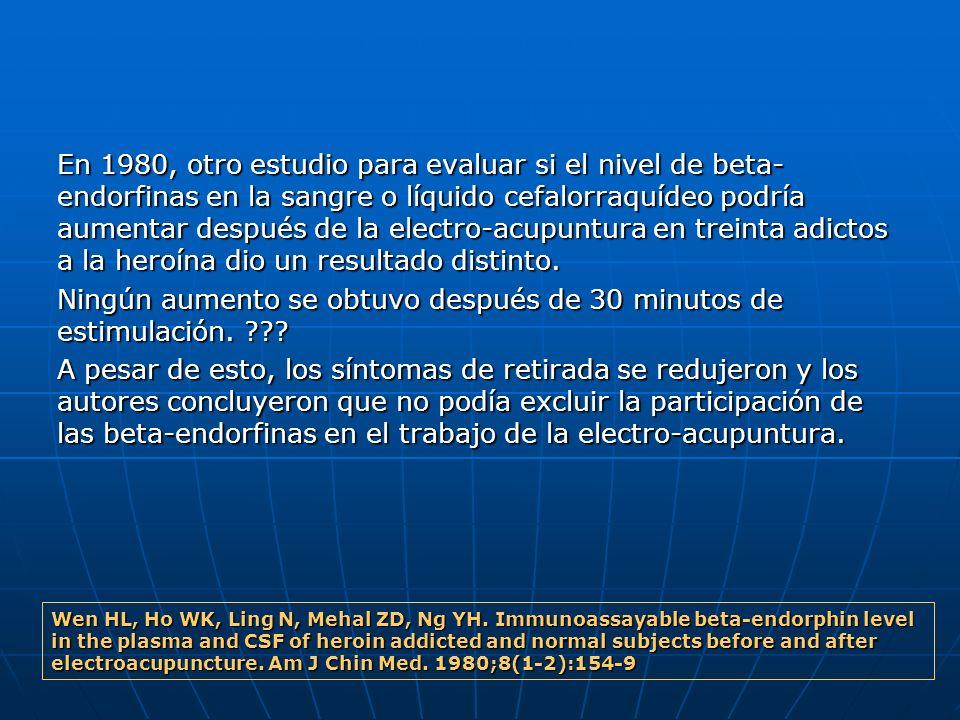 En 1980, otro estudio para evaluar si el nivel de beta- endorfinas en la sangre o líquido cefalorraquídeo podría aumentar después de la electro-acupun