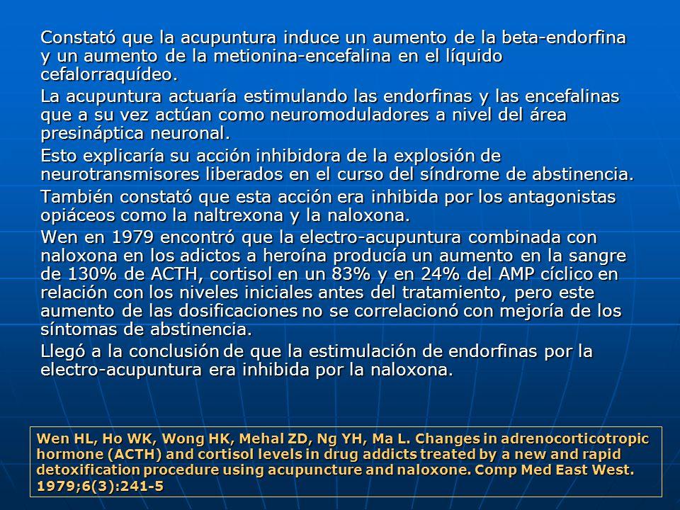 Constató que la acupuntura induce un aumento de la beta endorfina y un aumento de la metionina encefalina en el líquido cefalorraquídeo. Constató que