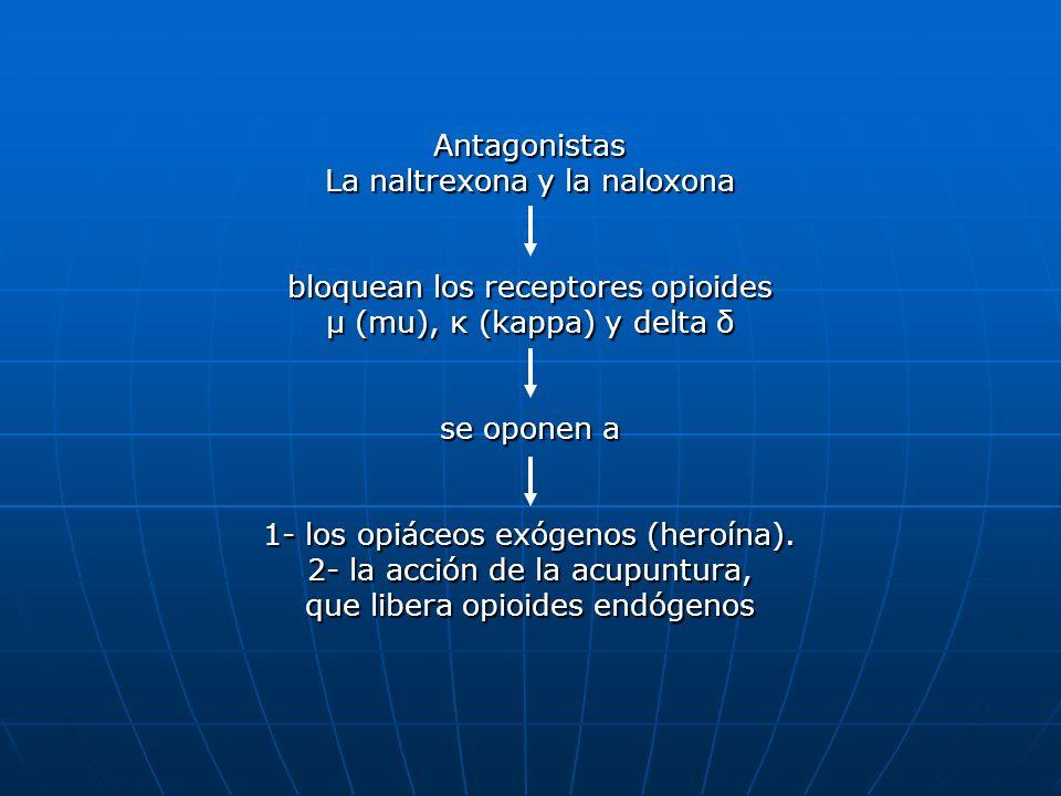Antagonistas La naltrexona y la naloxona bloquean los receptores opioides μ (mu), κ (kappa) y delta δ se oponen a 1- los opiáceos exógenos (heroína).
