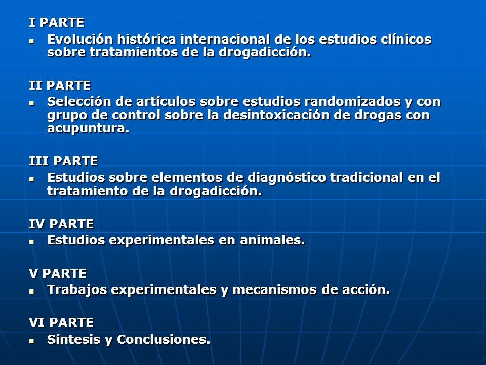 I PARTE Evolución histórica internacional de los estudios clínicos sobre tratamientos de la drogadicción. Evolución histórica internacional de los est