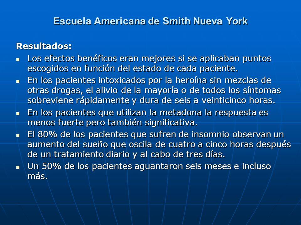 Escuela Americana de Smith Nueva York Resultados: Los efectos benéficos eran mejores si se aplicaban puntos escogidos en función del estado de cada pa