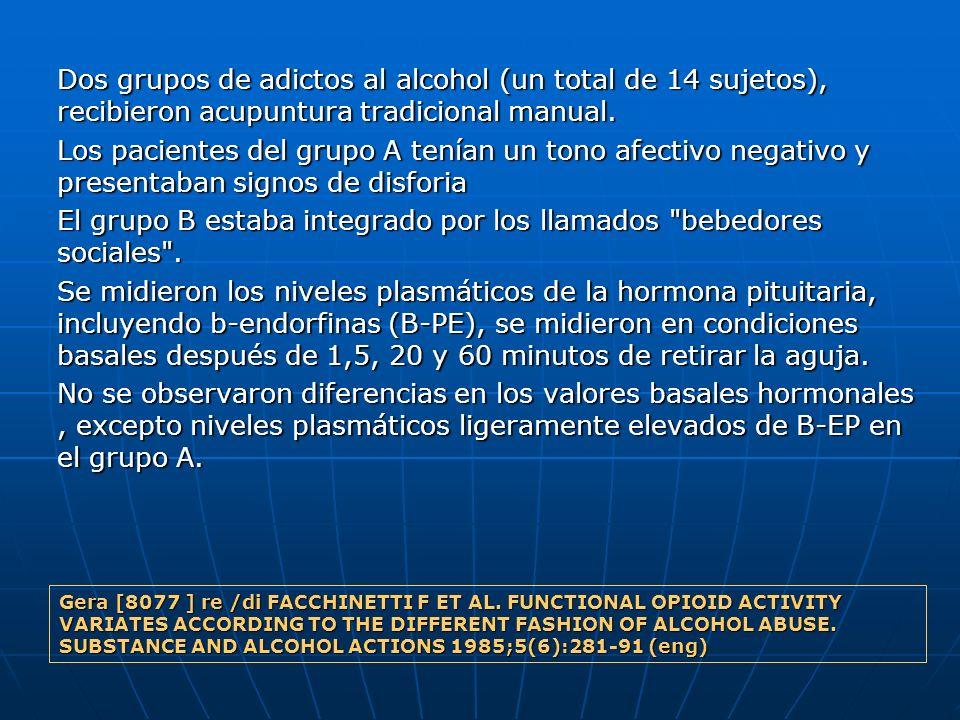 Dos grupos de adictos al alcohol (un total de 14 sujetos), recibieron acupuntura tradicional manual. Los pacientes del grupo A tenían un tono afectivo