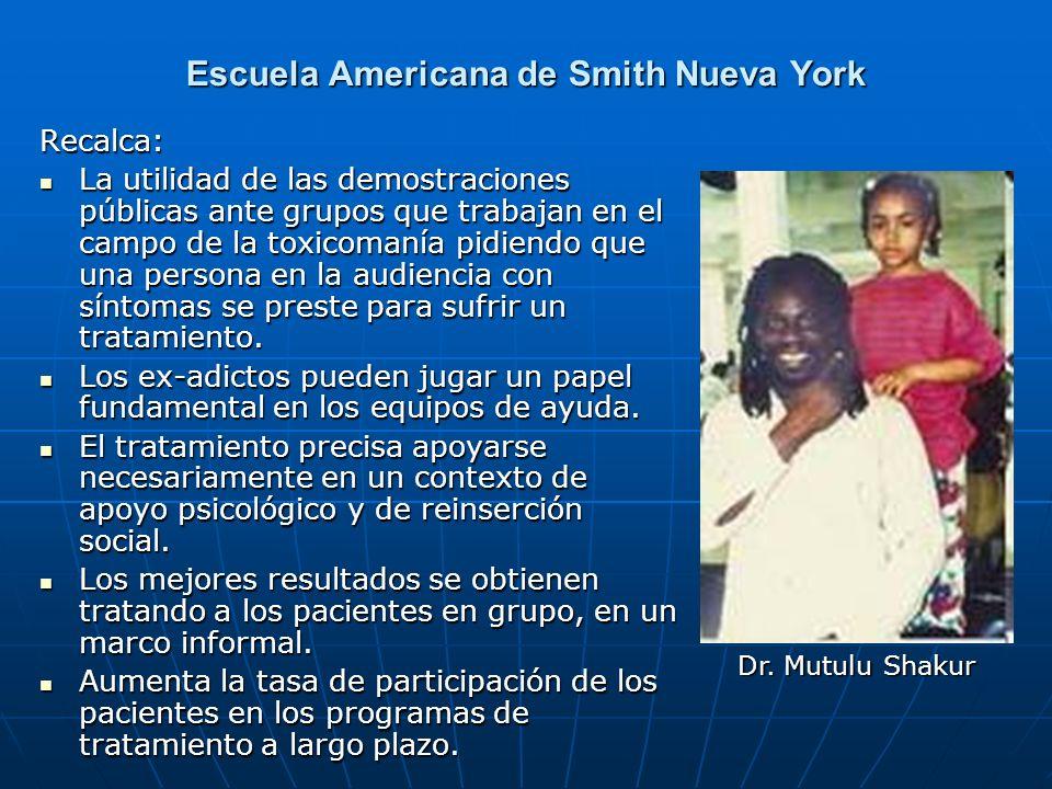 Escuela Americana de Smith Nueva York Recalca: La utilidad de las demostraciones públicas ante grupos que trabajan en el campo de la toxicomanía pidie