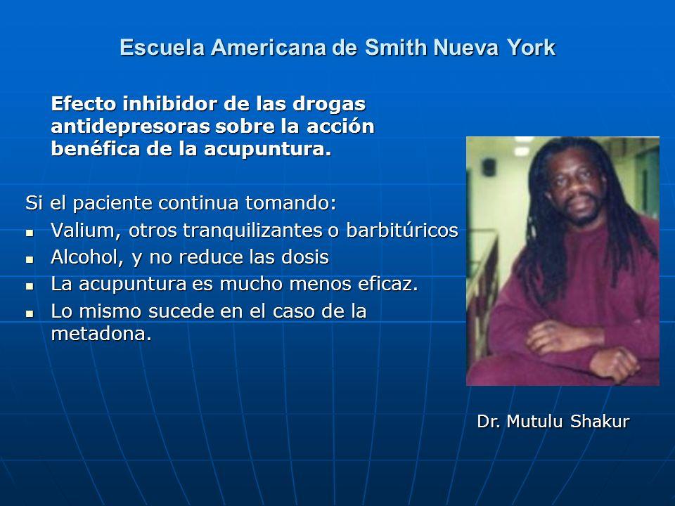 Escuela Americana de Smith Nueva York Efecto inhibidor de las drogas antidepresoras sobre la acción benéfica de la acupuntura. Efecto inhibidor de las