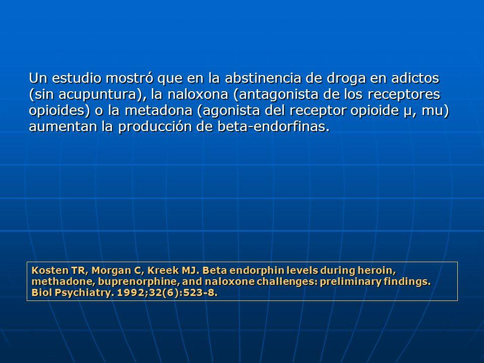 Un estudio mostró que en la abstinencia de droga en adictos (sin acupuntura), la naloxona (antagonista de los receptores opioides) o la metadona (agon