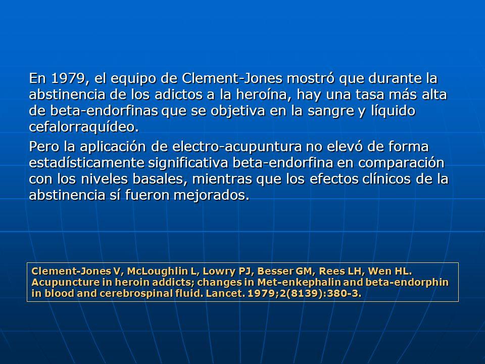 En 1979, el equipo de Clement-Jones mostró que durante la abstinencia de los adictos a la heroína, hay una tasa más alta de beta-endorfinas que se obj