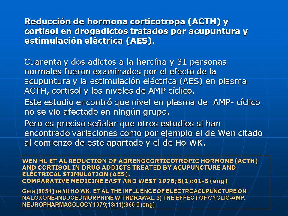 Reducción de hormona corticotropa (ACTH) y cortisol en drogadictos tratados por acupuntura y estimulación eléctrica (AES). Cuarenta y dos adictos a la