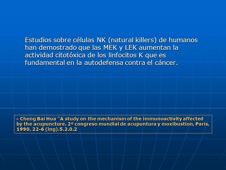 Estudios sobre células NK (natural killers) de humanos han demostrado que las MEK y LEK aumentan la actividad citotóxica de los linfocitos K que es fu