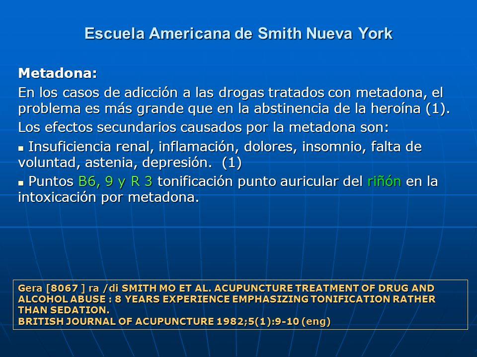 Escuela Americana de Smith Nueva York Metadona: En los casos de adicción a las drogas tratados con metadona, el problema es más grande que en la absti