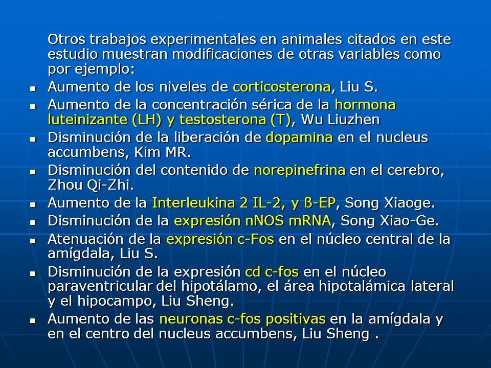 Otros trabajos experimentales en animales citados en este estudio muestran modificaciones de otras variables como por ejemplo: Aumento de los niveles