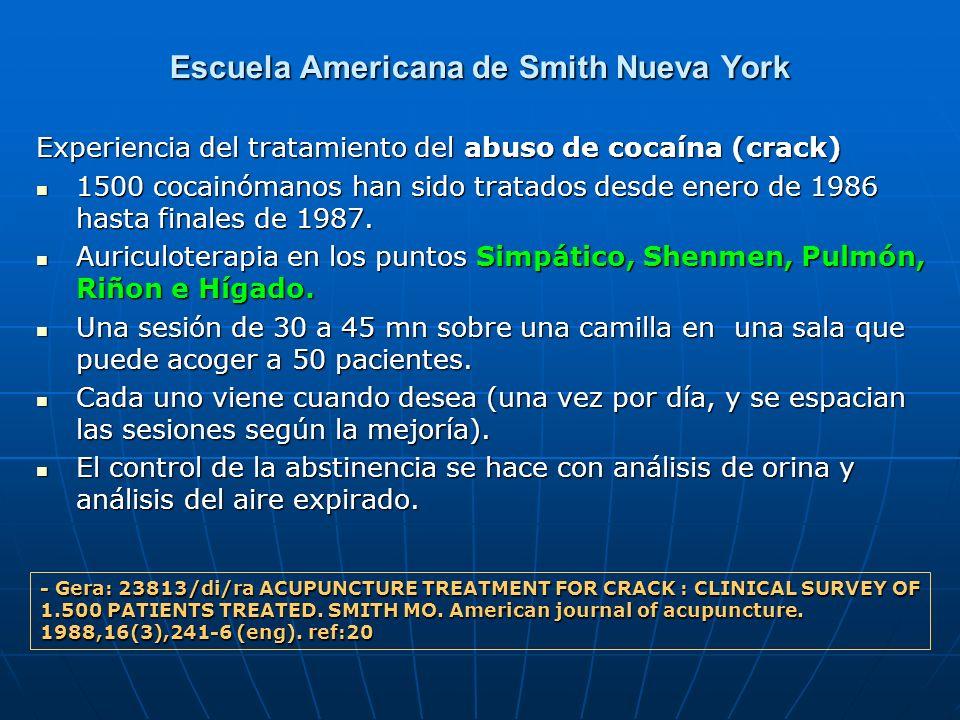 Escuela Americana de Smith Nueva York Experiencia del tratamiento del abuso de cocaína (crack) 1500 cocainómanos han sido tratados desde enero de 1986