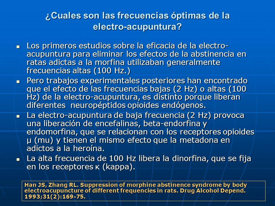 ¿Cuales son las frecuencias óptimas de la electro-acupuntura? Los primeros estudios sobre la eficacia de la electro- acupuntura para eliminar los efec