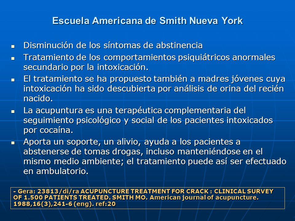 Escuela Americana de Smith Nueva York Disminución de los síntomas de abstinencia Disminución de los síntomas de abstinencia Tratamiento de los comport