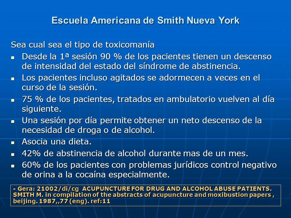 Escuela Americana de Smith Nueva York Sea cual sea el tipo de toxicomanía Desde la 1ª sesión 90 % de los pacientes tienen un descenso de intensidad de