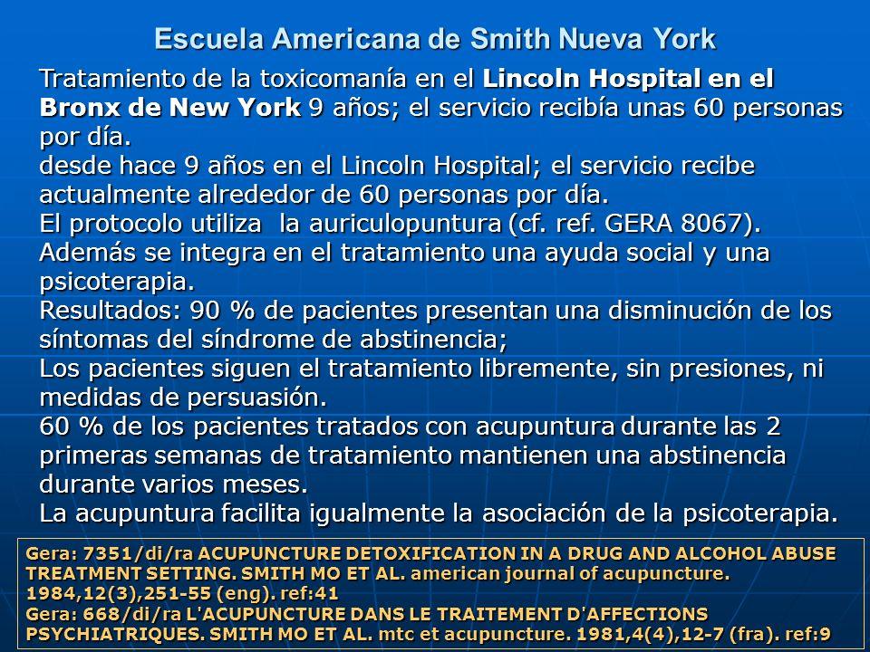 Escuela Americana de Smith Nueva York Tratamiento de la toxicomanía en el Lincoln Hospital en el Bronx de New York 9 años; el servicio recibía unas 60