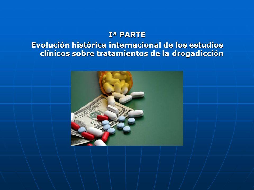 Iª PARTE Evolución histórica internacional de los estudios clínicos sobre tratamientos de la drogadicción