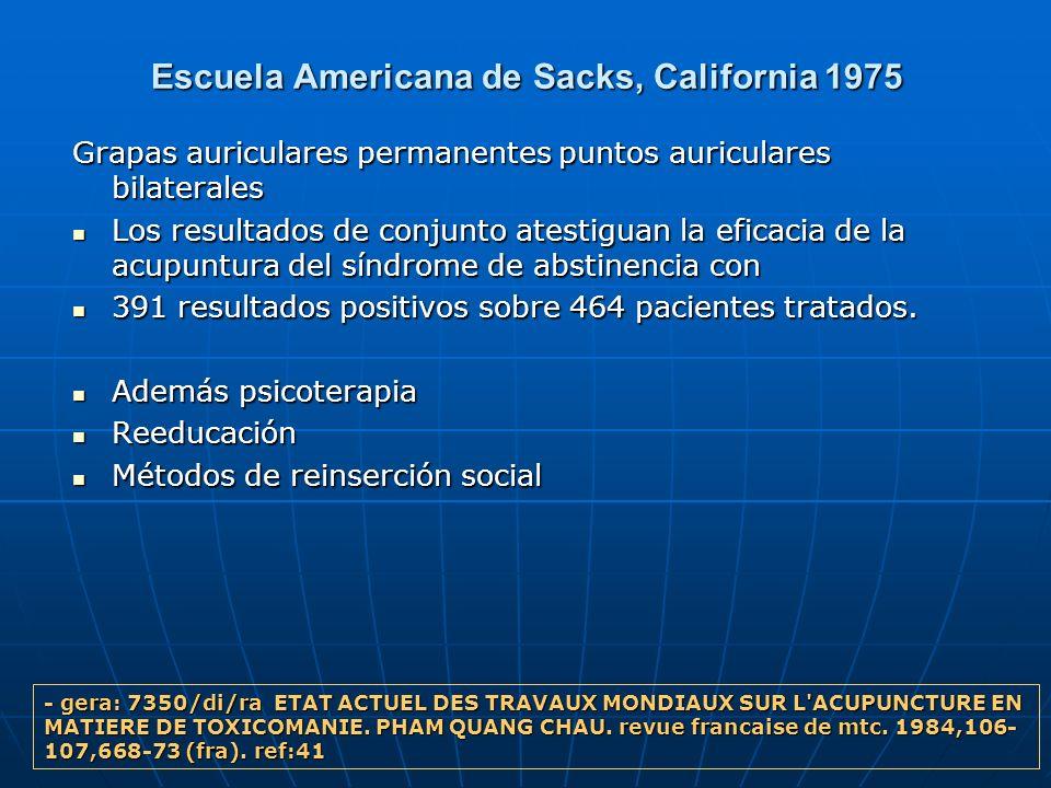 Escuela Americana de Sacks, California 1975 Grapas auriculares permanentes puntos auriculares bilaterales Grapas auriculares permanentes puntos auricu