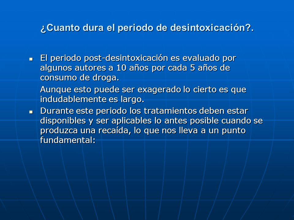 ¿Cuanto dura el periodo de desintoxicación?. El periodo post-desintoxicación es evaluado por algunos autores a 10 años por cada 5 años de consumo de d