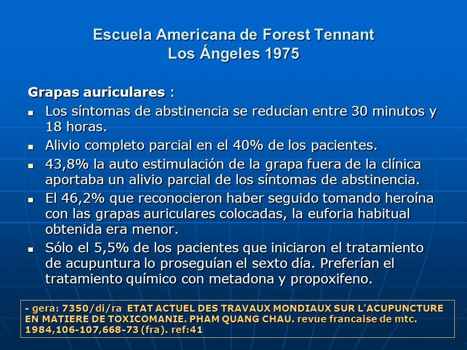 Escuela Americana de Forest Tennant Los Ángeles 1975 Grapas auriculares : Los síntomas de abstinencia se reducían entre 30 minutos y 18 horas. Los sín