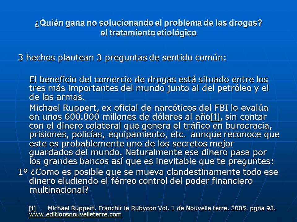 ¿Quién gana no solucionando el problema de las drogas? el tratamiento etiológico 3 hechos plantean 3 preguntas de sentido común: El beneficio del come