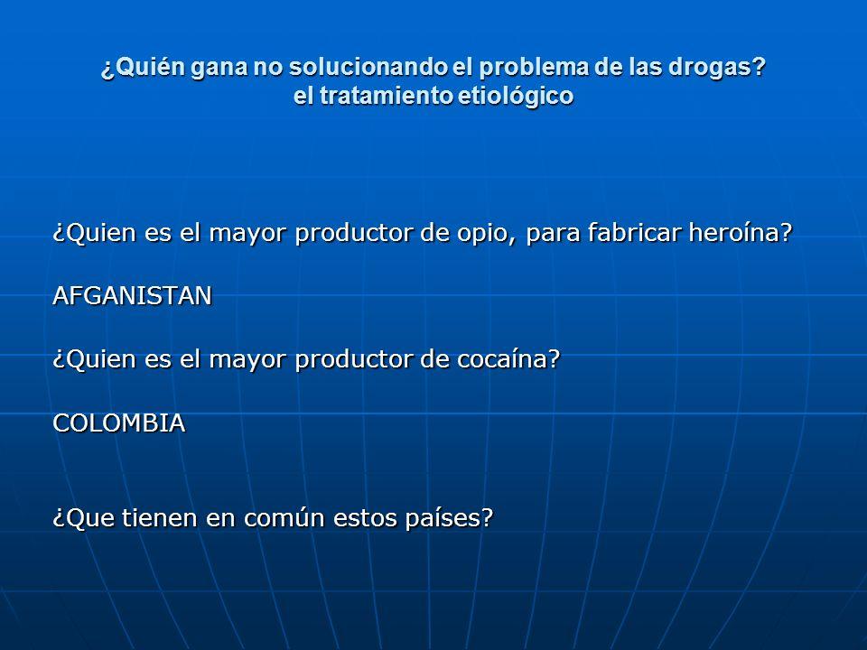 ¿Quién gana no solucionando el problema de las drogas? el tratamiento etiológico ¿Quien es el mayor productor de opio, para fabricar heroína? AFGANIST