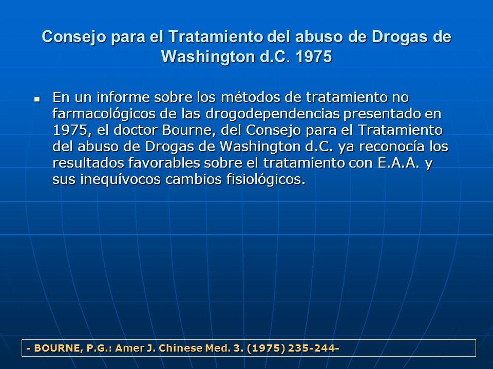 Consejo para el Tratamiento del abuso de Drogas de Washington d.C. 1975 En un informe sobre los métodos de tratamiento no farmacológicos de las drogod