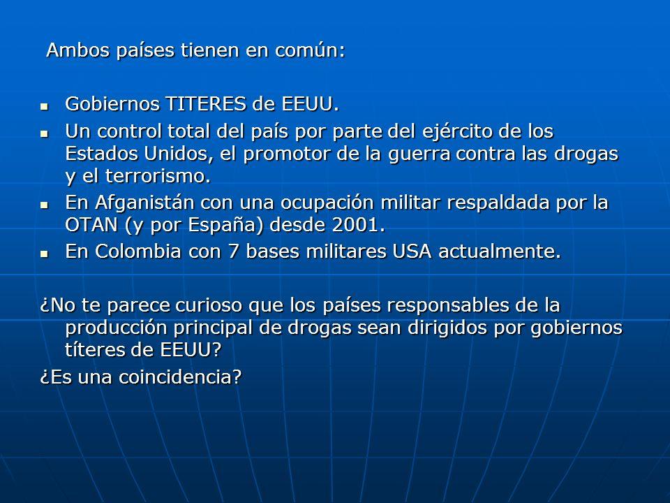 Ambos países tienen en común: Ambos países tienen en común: Gobiernos TITERES de EEUU. Gobiernos TITERES de EEUU. Un control total del país por parte