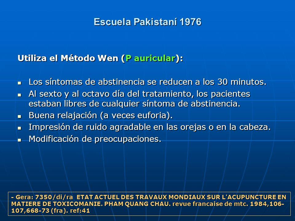 Escuela Pakistaní 1976 Utiliza el Método Wen (P auricular): Los síntomas de abstinencia se reducen a los 30 minutos. Los síntomas de abstinencia se re