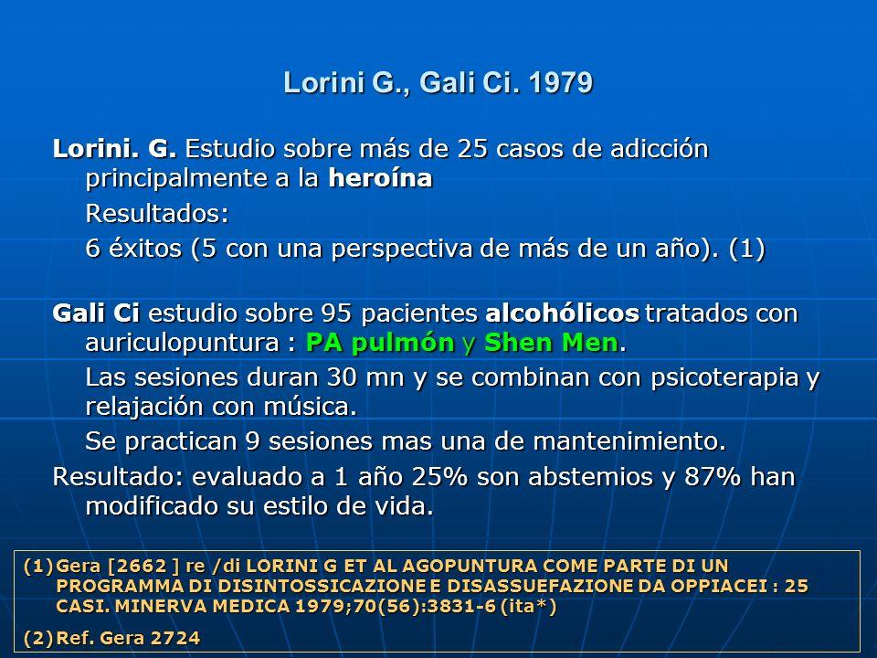 Lorini G., Gali Ci. 1979 Lorini. G. Estudio sobre más de 25 casos de adicción principalmente a la heroína Resultados: 6 éxitos (5 con una perspectiva