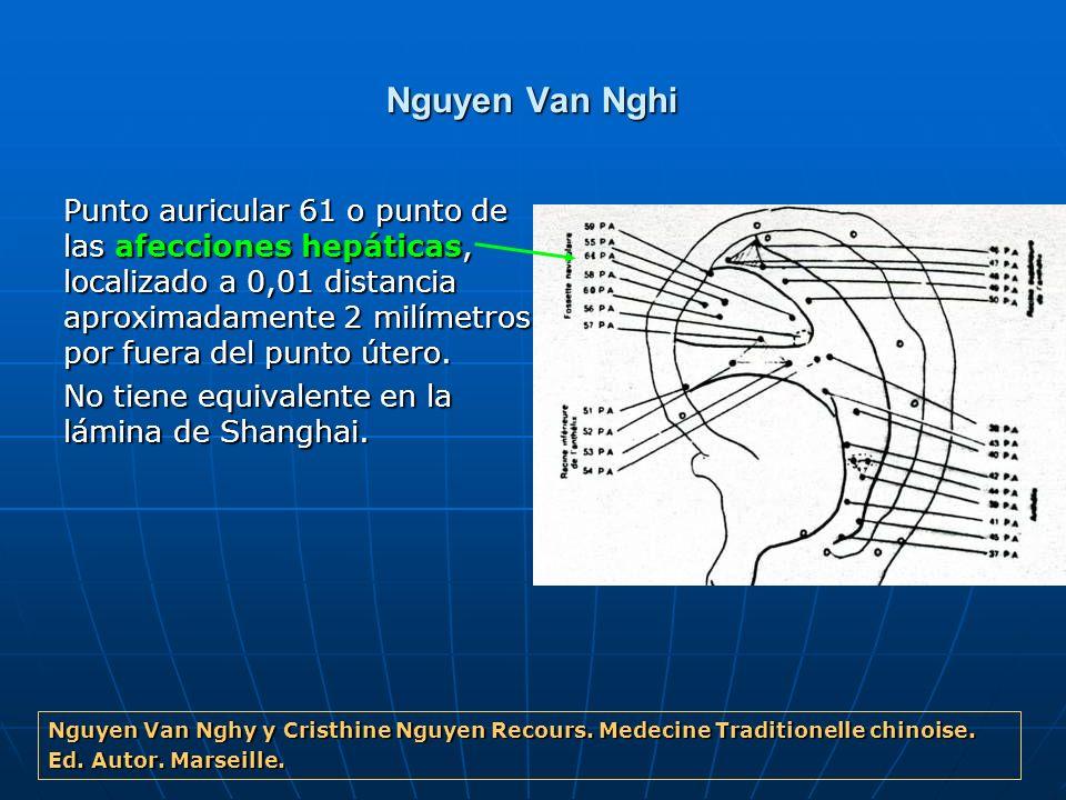 Nguyen Van Nghi Punto auricular 61 o punto de las afecciones hepáticas, localizado a 0,01 distancia aproximadamente 2 milímetros por fuera del punto ú