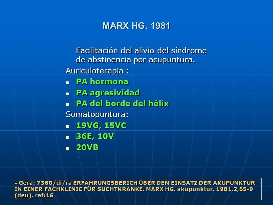 MARX HG. 1981 Facilitación del alivio del síndrome de abstinencia por acupuntura. Auriculoterapia : PA hormona PA hormona PA agresividad PA agresivida