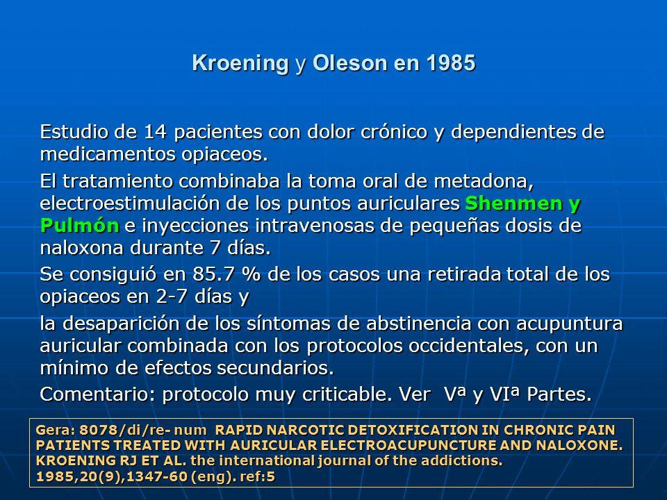 Kroening y Oleson en 1985 Estudio de 14 pacientes con dolor crónico y dependientes de medicamentos opiaceos. El tratamiento combinaba la toma oral de