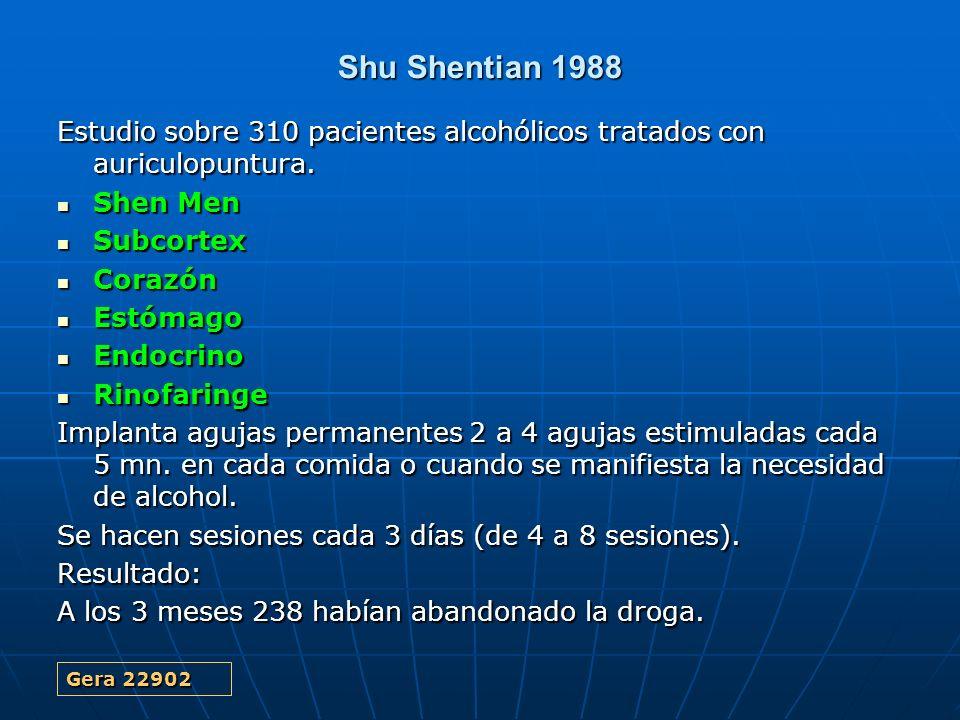Shu Shentian 1988 Estudio sobre 310 pacientes alcohólicos tratados con auriculopuntura. Shen Men Shen Men Subcortex Subcortex Corazón Corazón Estómago