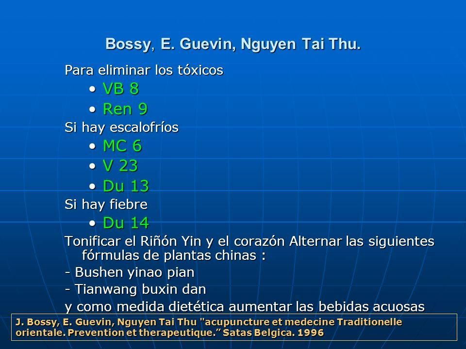 Bossy, E. Guevin, Nguyen Tai Thu. Para eliminar los tóxicos VB 8VB 8 Ren 9Ren 9 Si hay escalofríos MC 6MC 6 V 23V 23 Du 13Du 13 Si hay fiebre Du 14Du