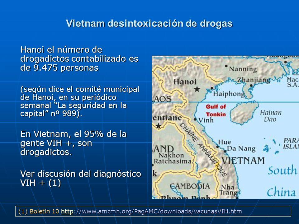 Vietnam desintoxicación de drogas Hanoi el número de drogadictos contabilizado es de 9.475 personas (según dice el comité municipal de Hanoi, en su pe