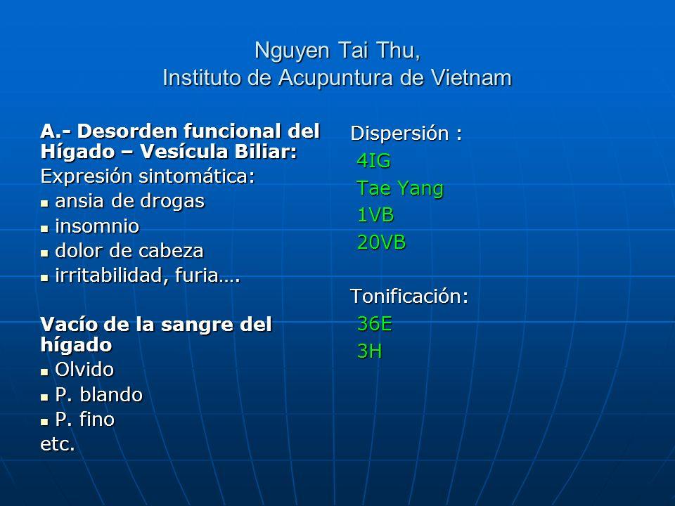 Nguyen Tai Thu, Instituto de Acupuntura de Vietnam A.- Desorden funcional del Hígado – Vesícula Biliar: Expresión sintomática: ansia de drogas ansia d