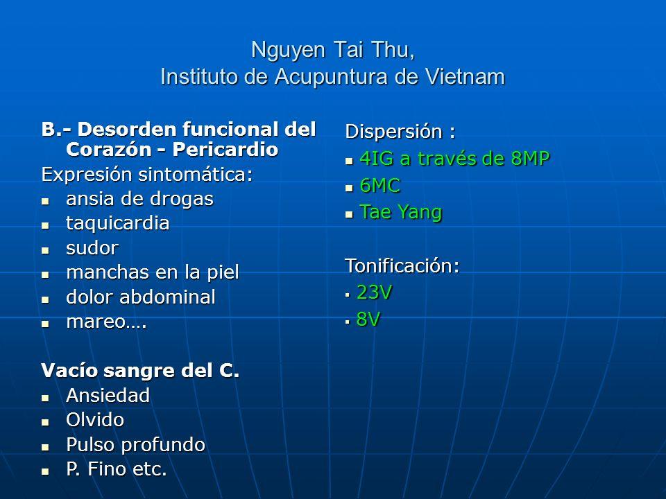 Nguyen Tai Thu, Instituto de Acupuntura de Vietnam Dispersión : 4IG a través de 8MP 4IG a través de 8MP 6MC 6MC Tae Yang Tae YangTonificación: 23V 23V