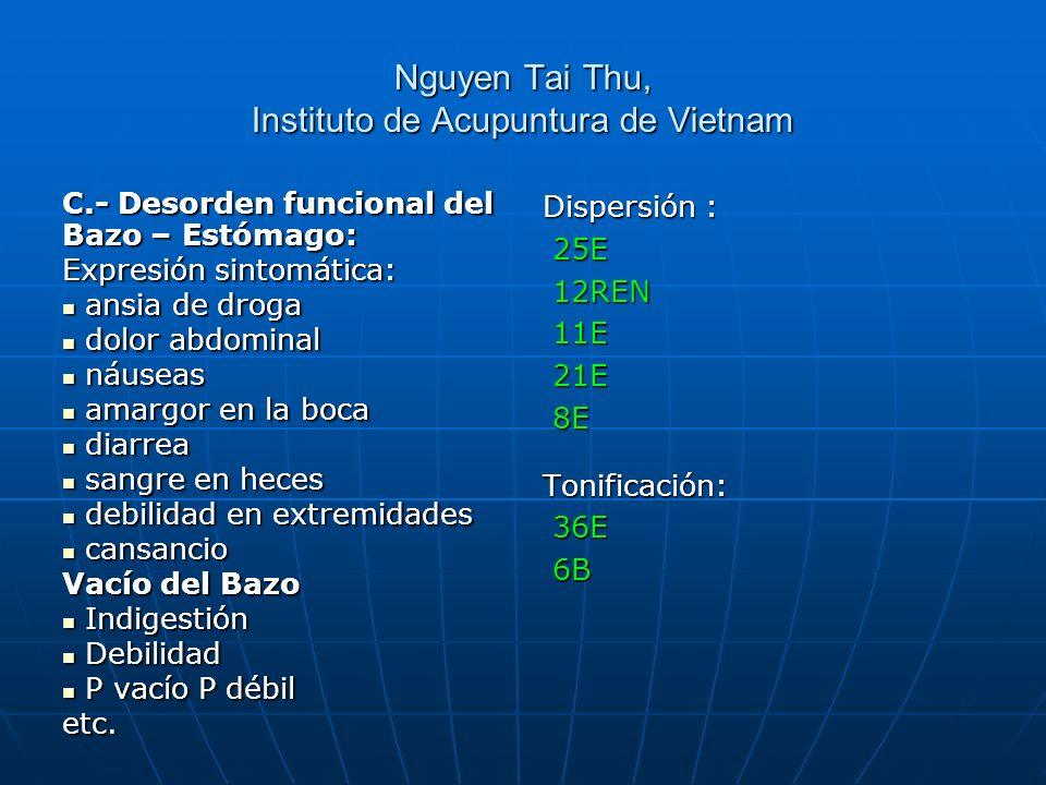 Nguyen Tai Thu, Instituto de Acupuntura de Vietnam C.- Desorden funcional del Bazo – Estómago: Expresión sintomática: ansia de droga ansia de droga do