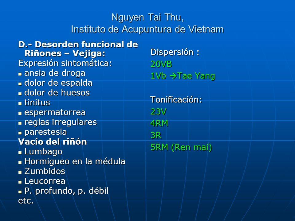 Nguyen Tai Thu, Instituto de Acupuntura de Vietnam D.- Desorden funcional de Riñones – Vejiga: Expresión sintomática: ansia de droga ansia de droga do