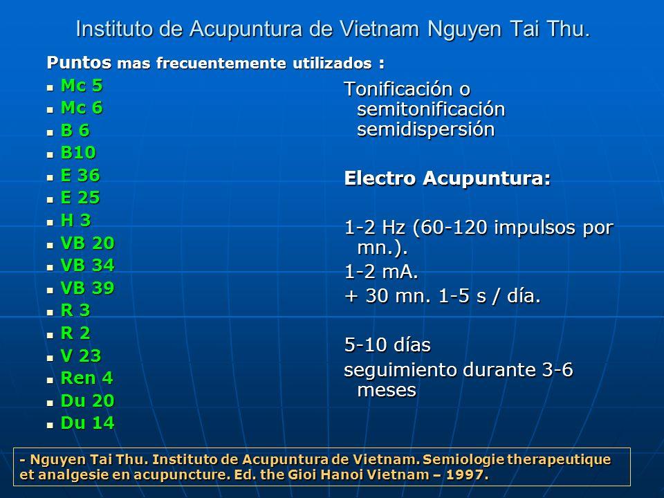 Instituto de Acupuntura de Vietnam Nguyen Tai Thu. Puntos mas frecuentemente utilizados : Mc 5 Mc 5 Mc 6 Mc 6 B 6 B 6 B10 B10 E 36 E 36 E 25 E 25 H 3